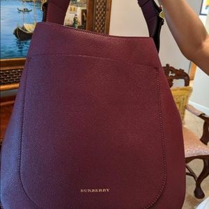 Burberry Soft Grain Small Elmstone Hobo, Dark Plum